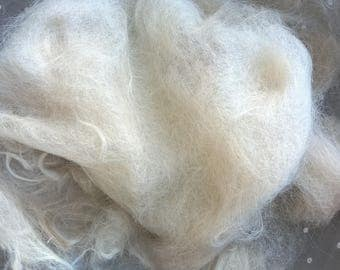 Raw, Unwashed but Combed Alpaca Fiber, primarily Suri Alpaca, sold by Pound