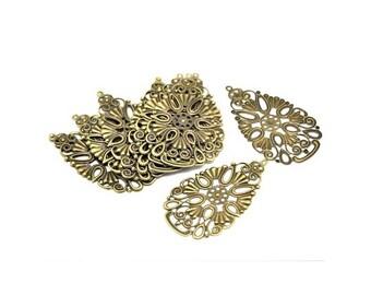 prints 10 pendants/connectors flower filigree Bronze color 68 x 40 mm