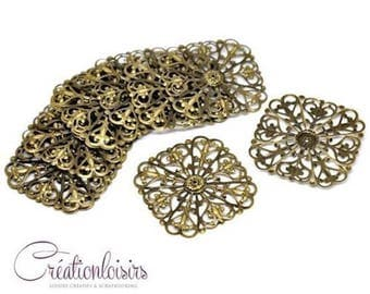 2 square prints filigree - diameter 50 mm - color Bronze