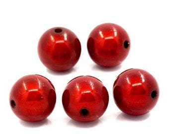 Beads magical miracle - Red 8 mm round - 30