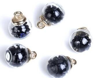 5 glass bottle Globe Transparent with black rhinestones