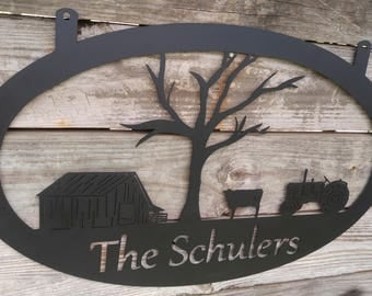 Farm Entrance Sign, Metal Ranch Sign, Metal Farm Sign, Farm Sign Personalized, Gift for Farmer, Gifts for Him, Metal Gate Sign, Farm Name