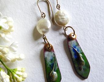 Elegant earrings, handmade enameled copper, pearls Baroque, wild plum blossoms
