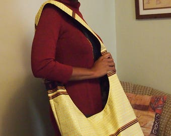 cross body bag- African wax fabric- hobo bag, yellow, brown and bronze