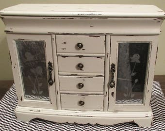 Antique White Jewelry Box Armoire Shabby Distressed Cottage French Country Chic Floral Botanical Mercury Glass Striped