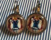 Golden retriever dog face glass cabochon earrings - 16mm