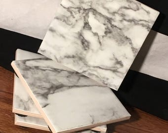 Faux marble coasters, Coasters, Marble Coasters, Faux Marble
