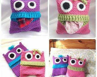 Crochet monster pillow, pajama storage pillow, made to order