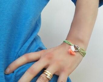 Lime green cord bracelet