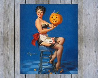 All Smiles - 1962 Gil Elvgren vintage pin up art poster print