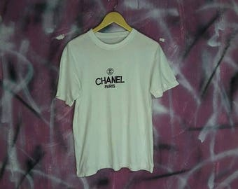 50% SALE Bootleg CHANEL Embroidered 80s 90s Medium White shirt