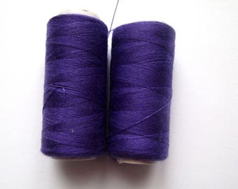 Set of 2 spools of thread for sewing 180 m - purple