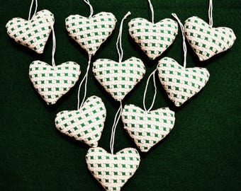"""Set of 10 hand made St. Patrick's Day stuffed fabric heart tree ornaments bowl fillers ~ 2 1/4"""""""
