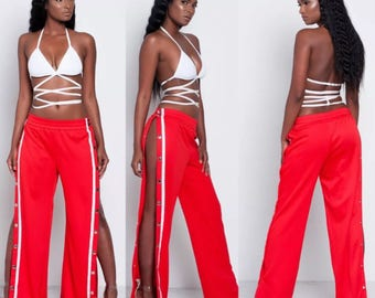 MONIKA Popper Trousers / vintage classic trousers side stripe joggers high waisted red black white fashion instagram party clubwear casual