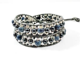 Blue Jean Baby~Handmade Wrap Bracelet~2 Wrap Bracelet~Wrap Bracelet Beaded~Silver Leather~Hematite Bracelet~Adjustable Bracelet~Gift