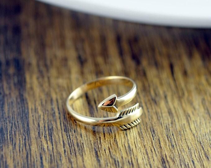 Gold Arrow Ring - Arrow Ring - Arrow Wrap Ring, Arrow Ring, Adjustable Arrow Ring,- Boho Ring - Arrow Jewelry - Boho Jewelry - Stackable