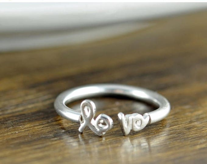 10% off SALE silver love ring, silver rings for women, adjustable ring, stacking rings, statement rings, gift for her, valentines day, roman
