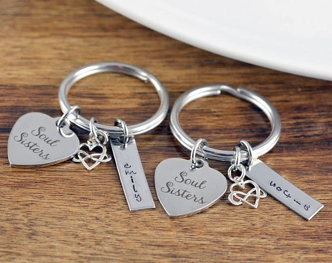 Personalized Soul Sister Gift, Soul Sister Keychain, Friendship Keychain, Best Friend Jewelry, Soul Sister Jewelry,  Best Friend Gift