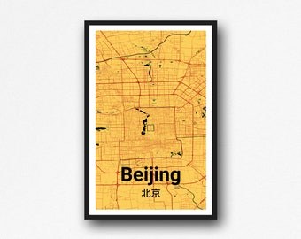 Artsy Beijing Map Wall Art - Poster Print