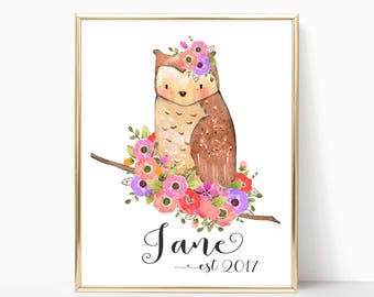 Personalized Baby Gift, Personalized Nursery Print, Custom Name Baby Gift, Cute Owl Nursery Wall Art, Nursery wall art, Baby Shower Gift.
