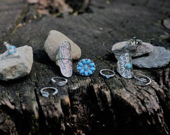 9 peice/set Knuckle ring / silver.blue beads