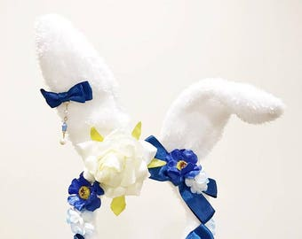 Bunny ears Rabbit Headwear Blue Furry Animal Headband Costume Bows Flowers Rose