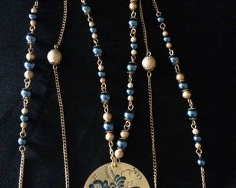 Blue and Gold Multi-Strand Interchangeable Necklace, 3 Necklaces in 1, Multi-Strand Beaded Necklace, Multi-Strand Necklace