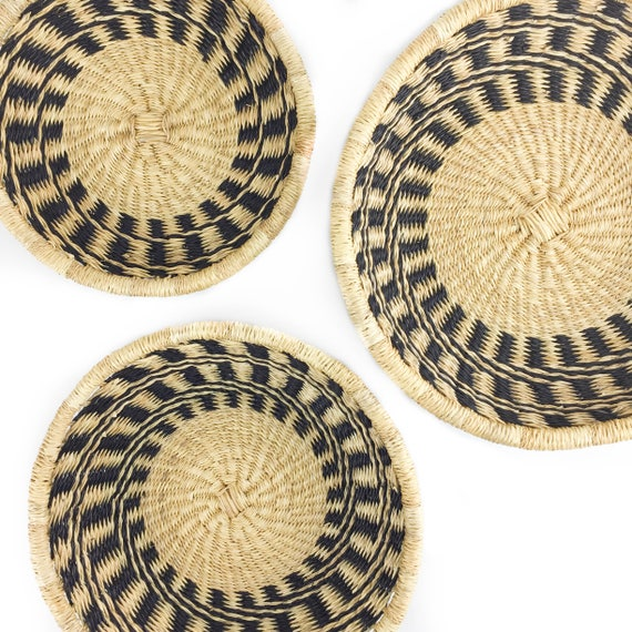 Shallow Basket Set - Handwoven in Ghana by Bolga Weavers -Black and Natural  - Elephant Grass