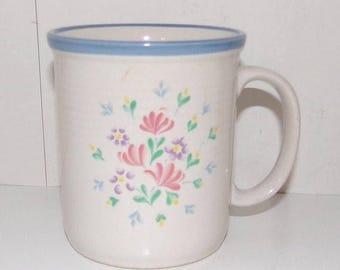 ON SALE Spectrum Stoneware Japan * Floral Design Mug - Pink and Purple Flowers