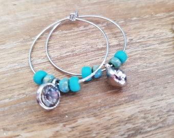 Hoop earring turquoise with grey rhinestones