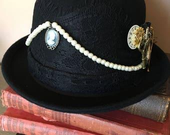 Steampunk goth bowler hat