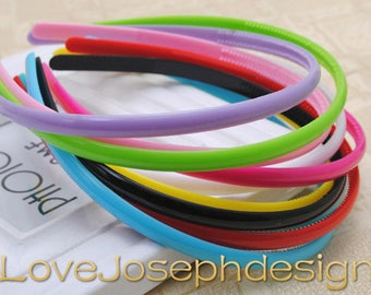 wholesale 100 pieces assorted colors plastic hair headband covered 8mm width wide