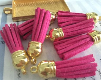 50pieces hot pink suede leather Gold plastic caps ear tassel --for length 45mm