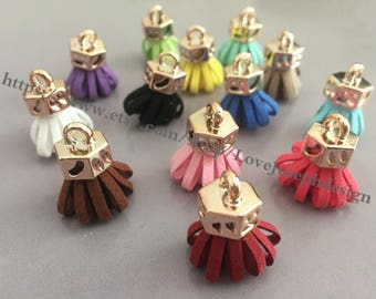 wholesale 100pieces Assorted colors(more than 15colors) suede leather KC gold caps ear tassel --for length 20mmx30mm (#0191)