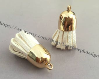 10pieces 35mm beige PU leather gold metal caps ear tassel charms (#0197)