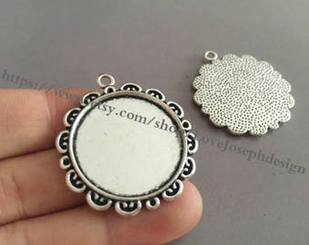 Wholesale 50 Pieces /Lot Antique Silver & Bronze Plated 25mm cabochon blanks trays charms(#0143)