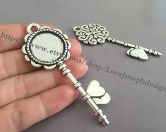 wholesale 20Pieces /Lot Antique Silver Plated 20mm (inner ) key cabochon bezel trays charms (#0241)