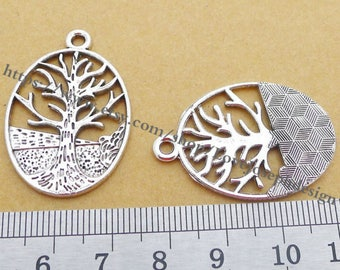 wholesale 50 Pieces /Lot Antique Silver Plated 35mmx24mm trees charms (#0441)