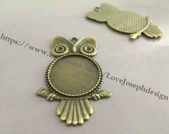 10 Pieces /Lot Antique Bronze Plated 25mm Owl cabochon trays charms (#0147)