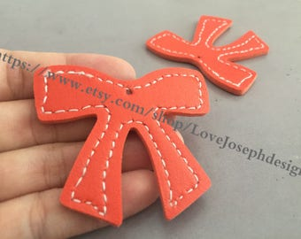 15 Pieces /Lot Orange 55mmx46mm fuax leather earring bowknot charms (#0479)