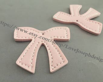 15 Pieces /Lot Pink 55mmx46mm fuax leather earring bowknot charms (#0544)