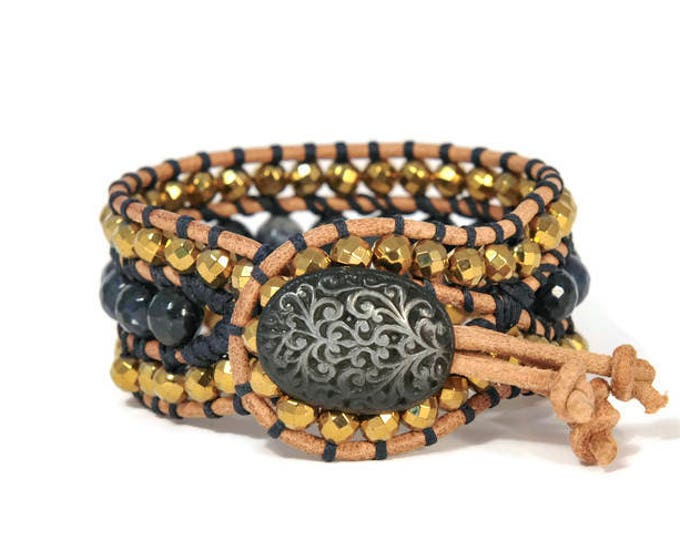Boho Gold Galactika * 3 strand Wrap Bracelet. Boho Style. Bohemian Jewelry. Semiprecious stones. Gift for her. Cuff Bracelet.