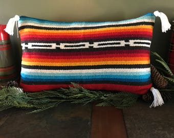Lumbar pillow cover made of heavy weight vintage runner with handmade tassels