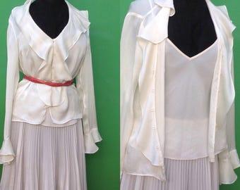 Ralph Lauren blouse//90s Ralph Lauren//Vintage Ralph Lauren//Silk vintage Blouse//vest and blouses//
