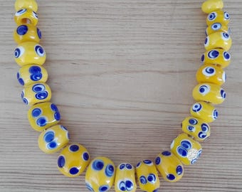 Celtic necklace - necklace of Gallic ocelli glass beads