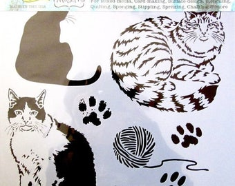 Solde -5% Reusable stencil - Theme: cats