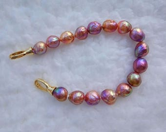 multi color freshwater cultured pearl beaded bracelet 9mm size,beautiful color