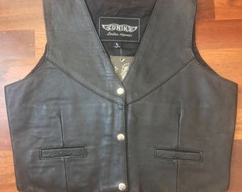 UNIK Leather Apparel/Black Leather Vest/New with Tags (Dead Stock)/Size Large