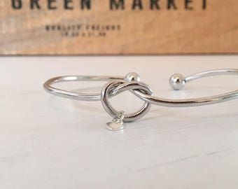 Sterling Silver Heart Knot Bangle, Bridesmaid, Anniversary Bracelet