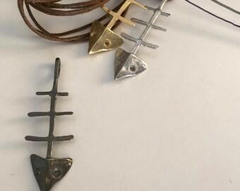 Fishbone long pendant